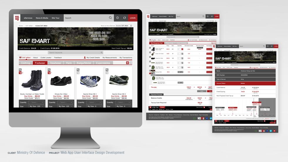 MINDEF eMart Web App User Interface